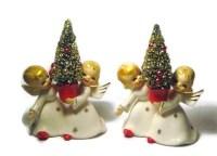 Vintage Christmas ANGEL Candle Holder Porcelain Figurine