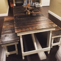 French Country Cottage Dining Table & Bench Set Picnic Table