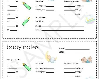 Baby Log 0-6 months Nanny Log Baby's Day Schedule