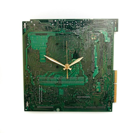 Recycled Computer Clock - Circuit Board Clock - Modern Clock - Geek Decor - Geekery - Tech Gift - Motherboard Clock