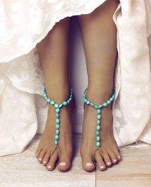 Turquoise And Gold Beaded Barefoot Sandals Foot Jewelry