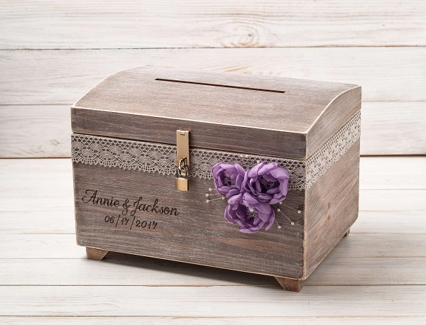 Large Wedding Card Box With Lock And Key Keepsake Chest