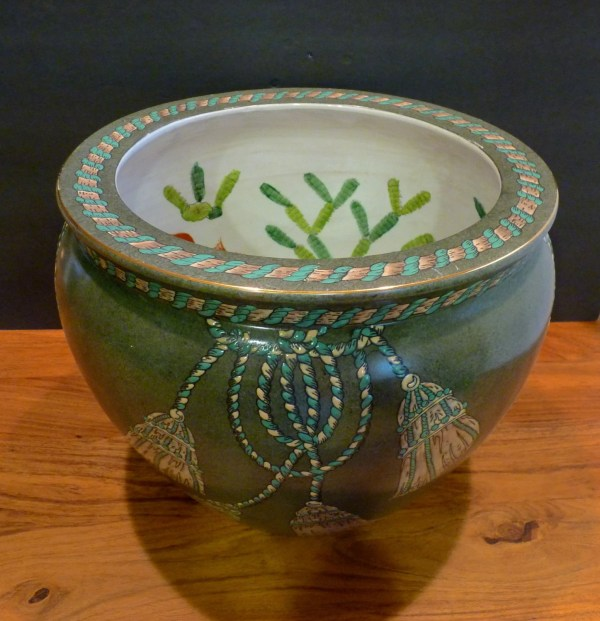 Chinese Fish Bowl Porcelain Fishbowl Planter Dark Green
