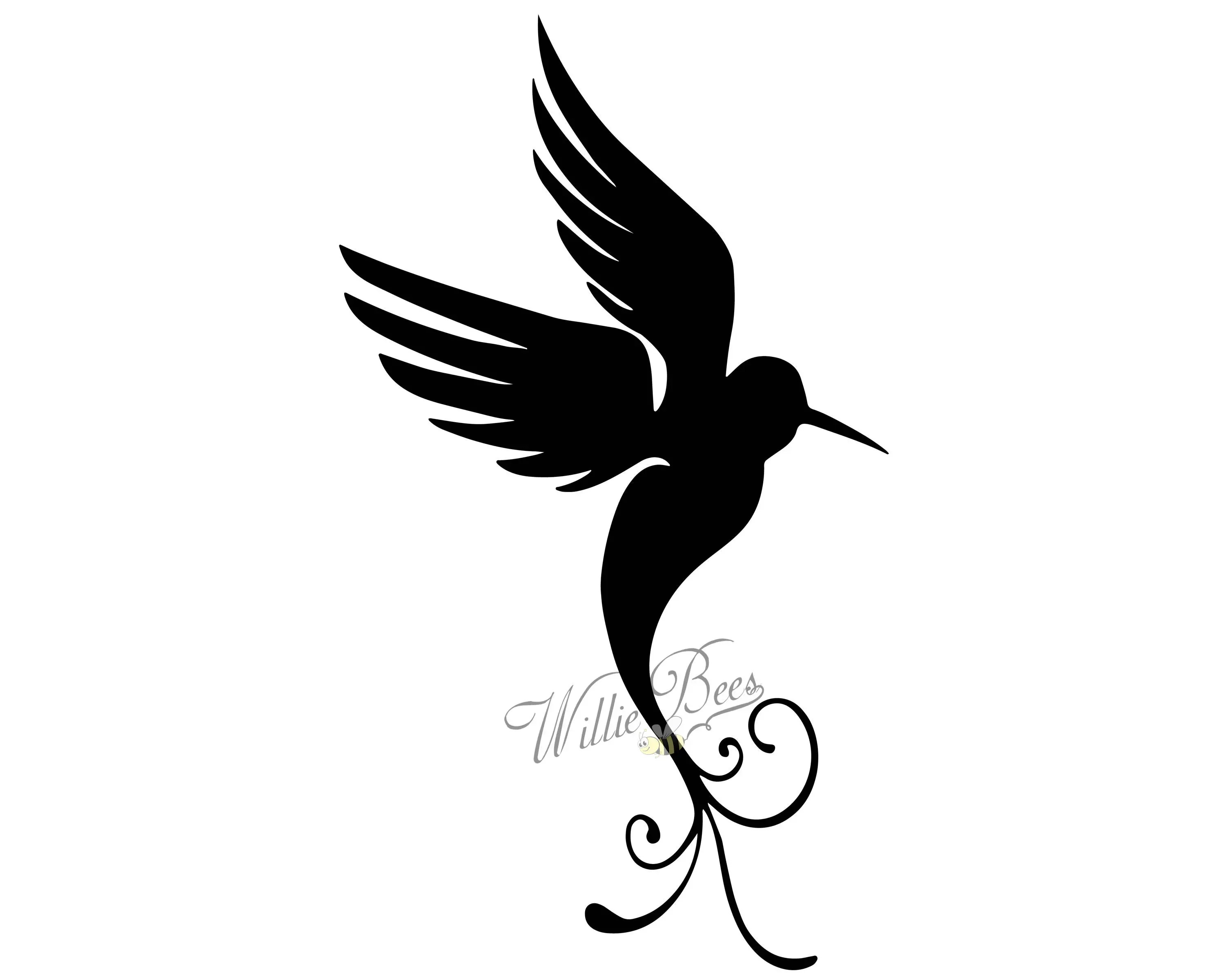 Hummingbird Silhouette Clip Art 12 Inches And Svg File