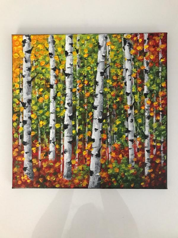 Birch Tree Painting Aspen Art Abstract Landscape