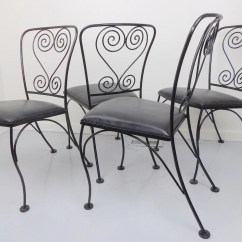 Black Metal Patio Chairs Portable Wheel Chair Wrought Iron 4 Antique Set
