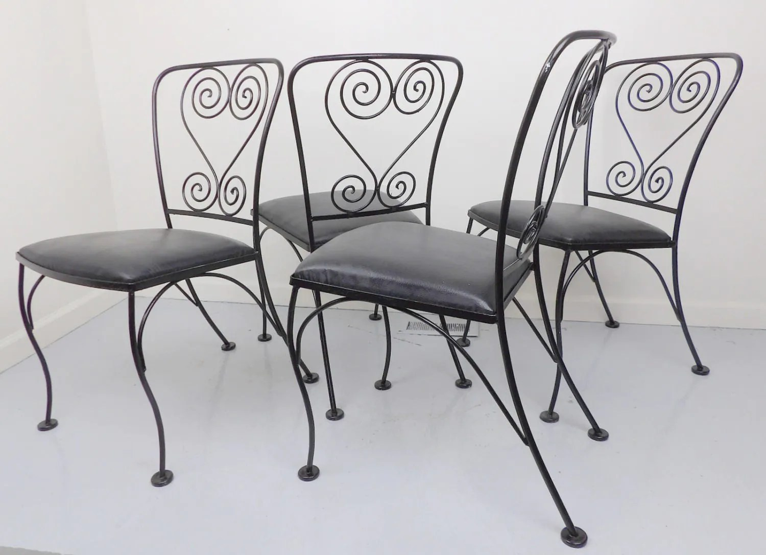 Black Metal Patio Chairs Wrought Iron Chairs 4 Patio Antique Chair Set Metal Black