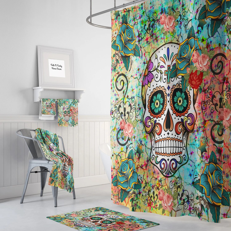 Abstract Skull Shower Curtain Sugar Skull Bathroom Set