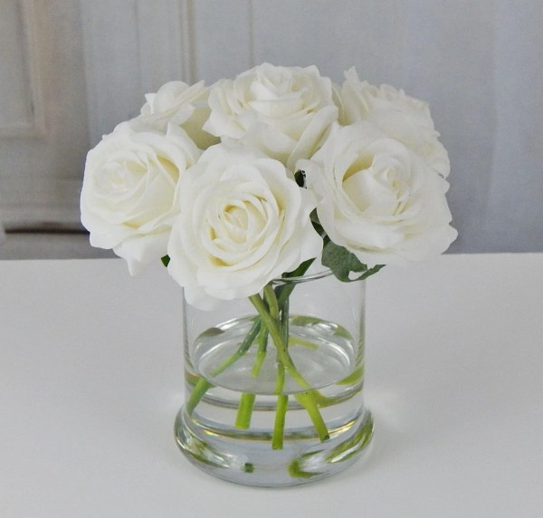 Faux White Roses in Glass Vase