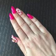 pink bling fake nails rhinestone
