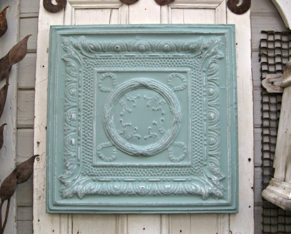 Antique Ceiling Tin Tile Framed Large Turquoise Metal Wall