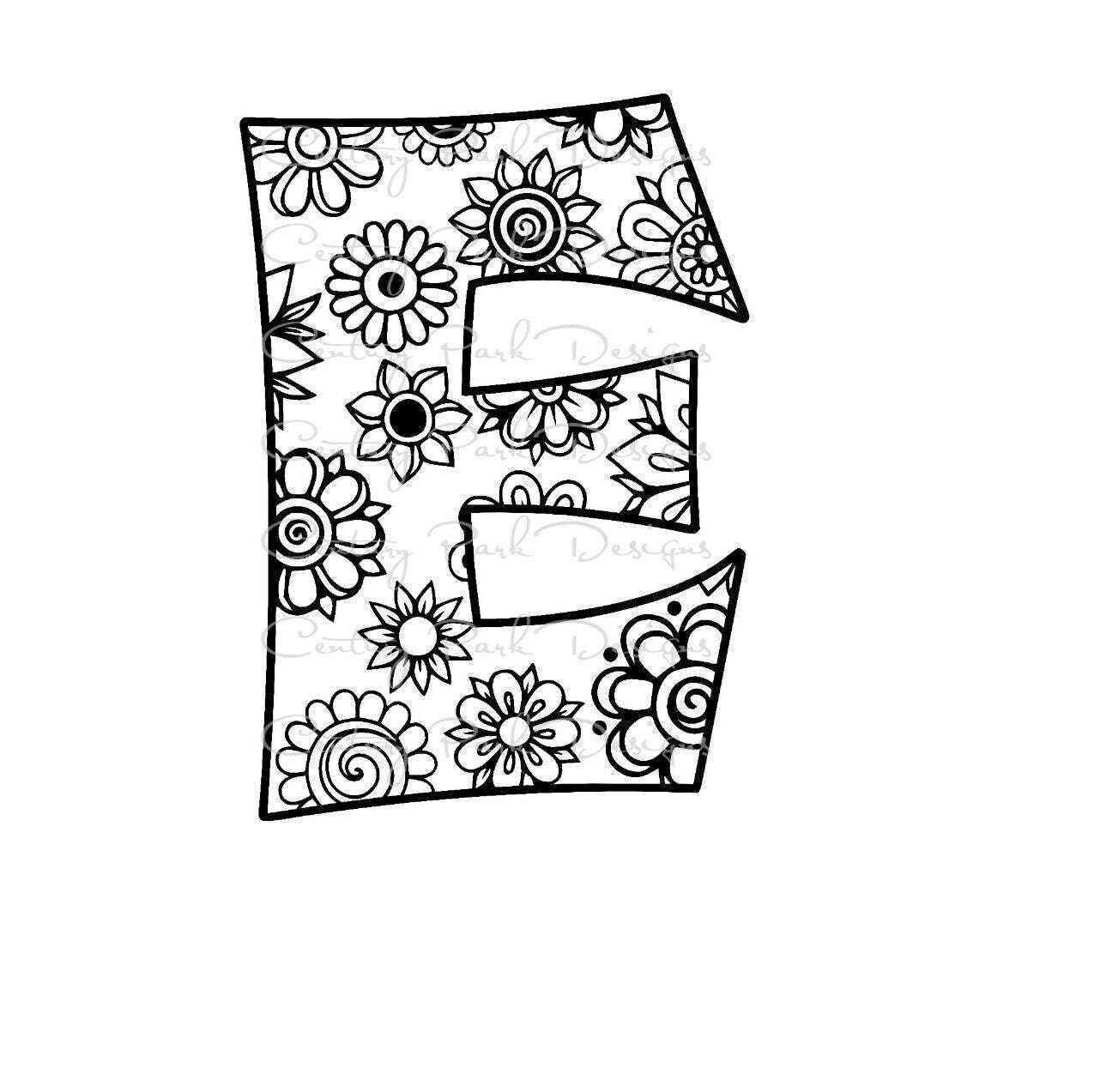 Letter E Alphabet Flowers SVG / JPEG / PNG /pdf / use with