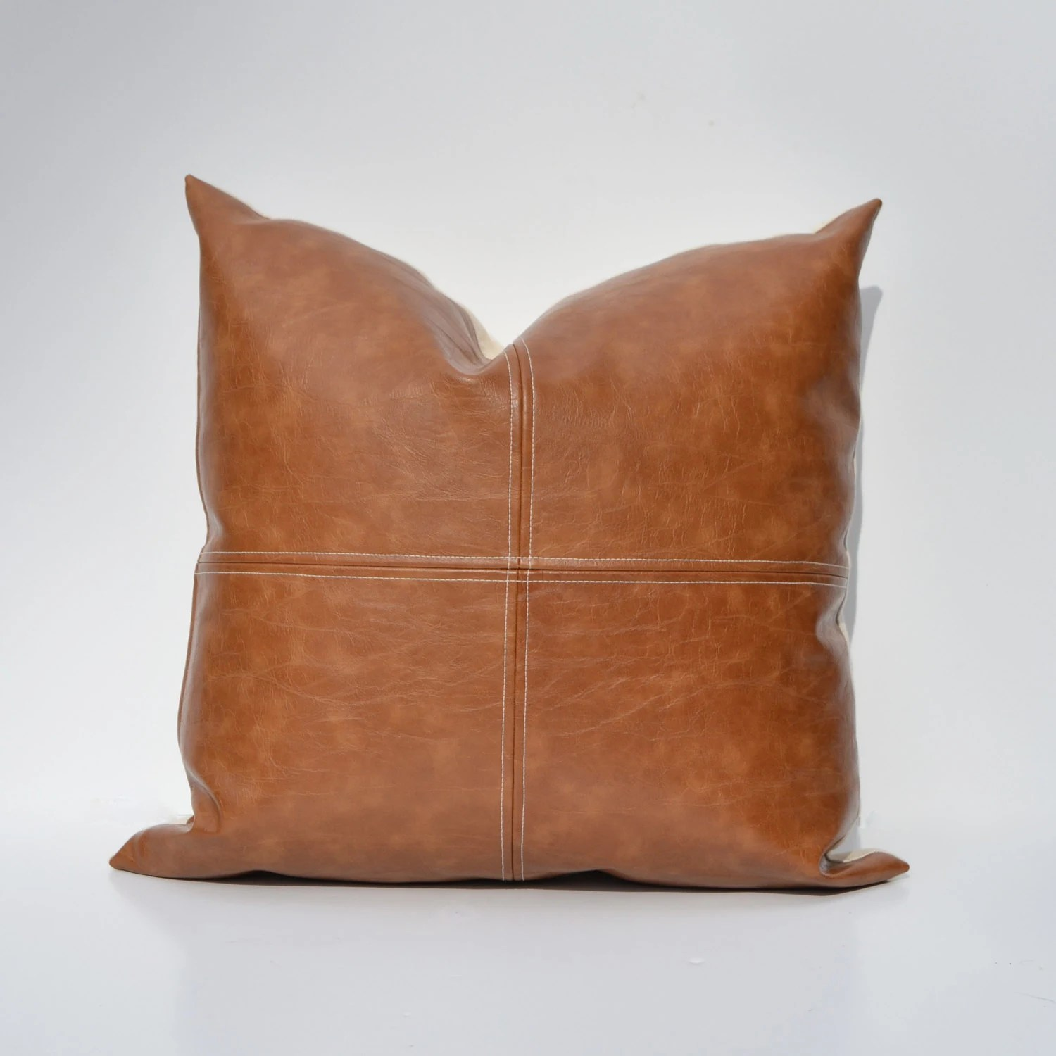 Paneled Faux Leather Pillow Cover Caramel