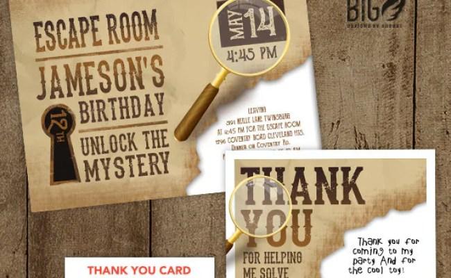 Escape Room Invite Boys Or Girls Birthday By