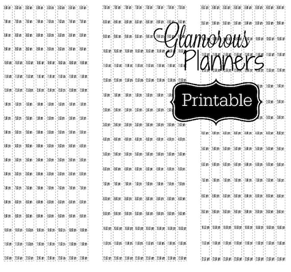 Happy Planner Hourly Stickers Printable Template Reg Classic
