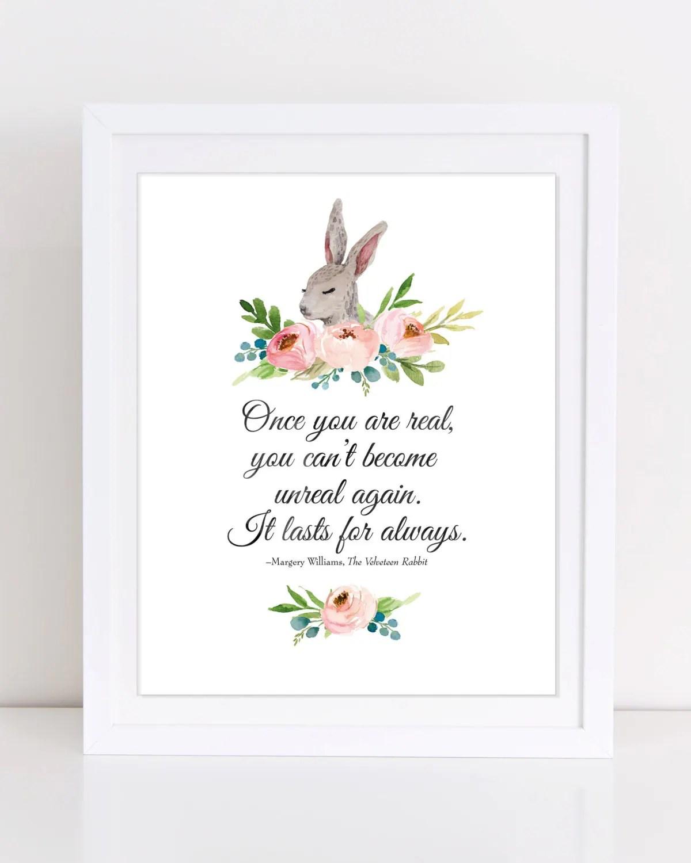 Velveteen Rabbit Quote Bunny Wall Art Printable Nursery Art