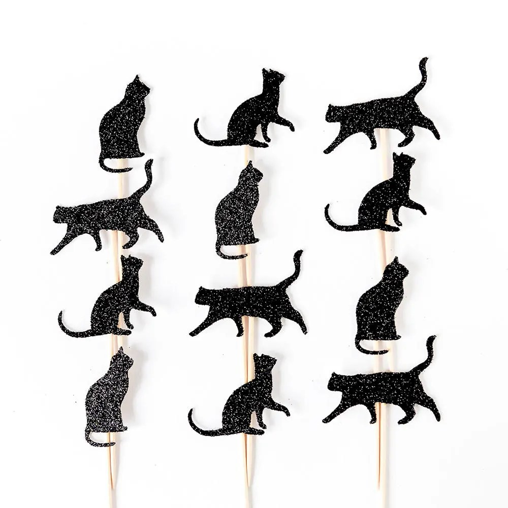 Cat cupcake toppers. Black cat party decorations. Silver cat.