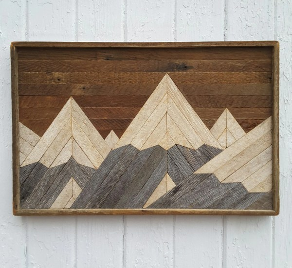 Reclaimed Wood Wall Art Mountain