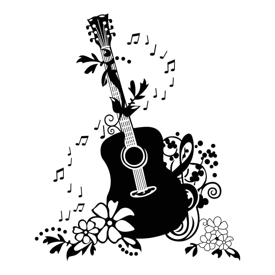 Decorativo Guitarra Musica Graficos Svg Dxf Eps Cdr Ai