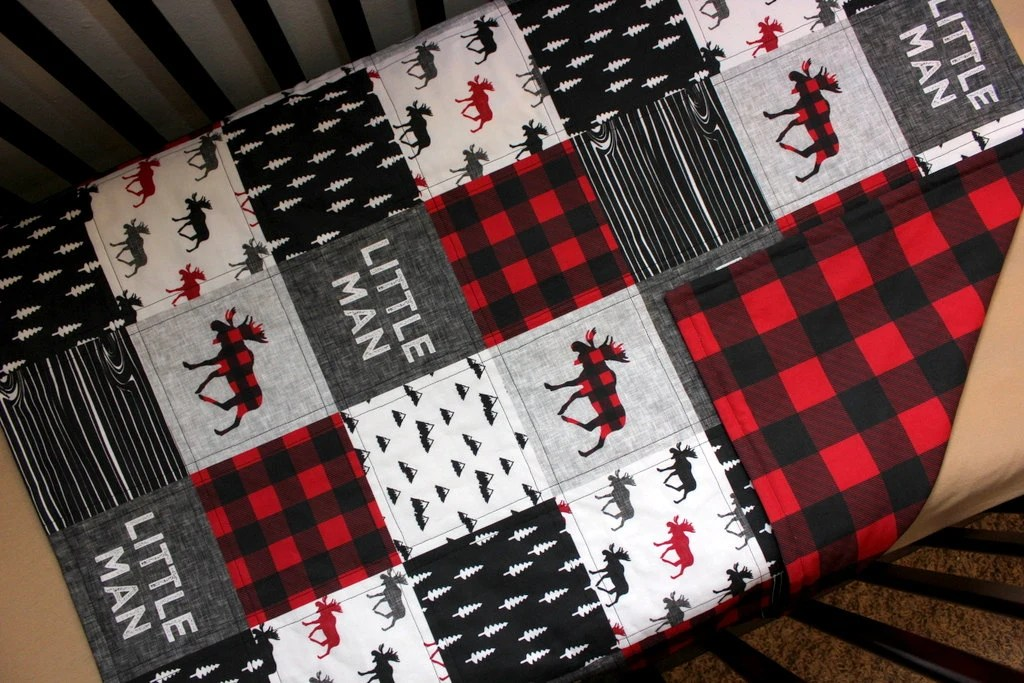 Lumberjack Baby Quilt  Fitted Sheet Baby Crib Set by NamiJane