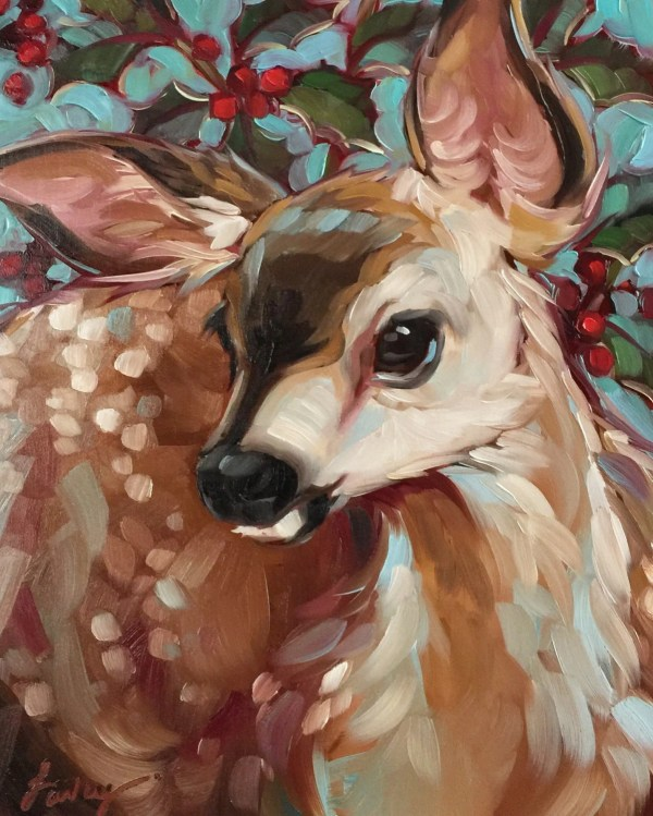 Deer Painting 'berry Deery' 8x10 Original