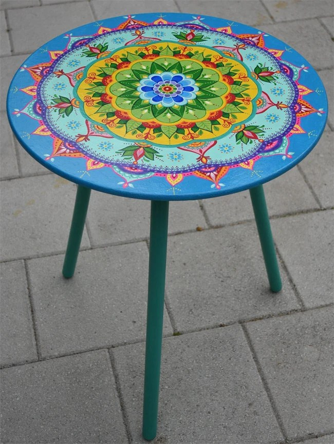 chair stool small how to make cushions with foam hand painted round table. furniture boho style.