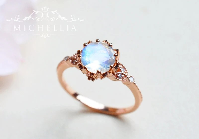 Moonstone Engagement Ring With Diamonds Vintage Floral Leaf