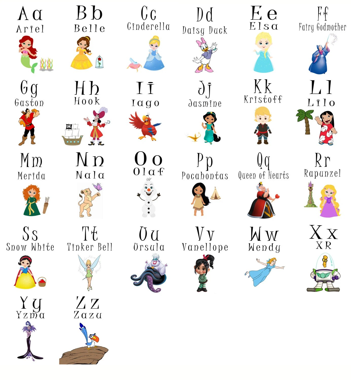 Abc Printable Flash Cards Disney Princess Digital Alphabet