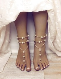 Pearl Barefoot Sandals Bridal Beach Wedding Shoes