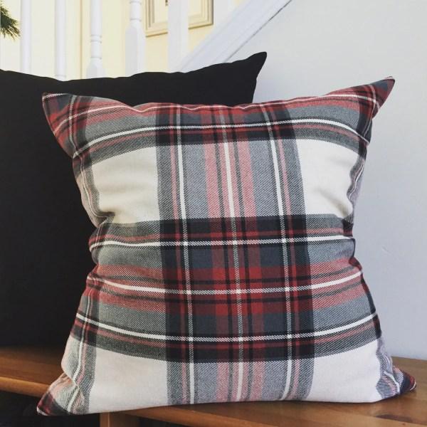 Plaid Pillow Cover Red Tartan