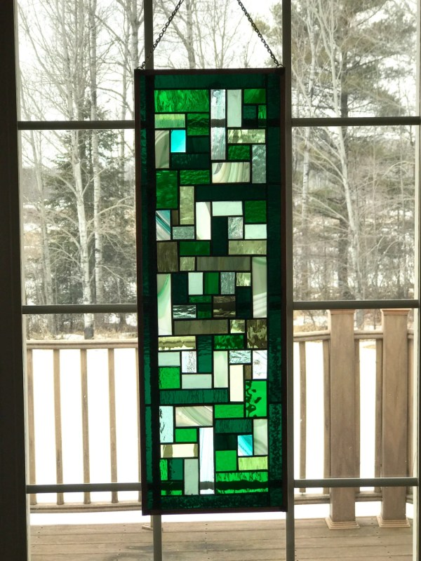 Geometric Green Stained Glass Window Panel. Mixed