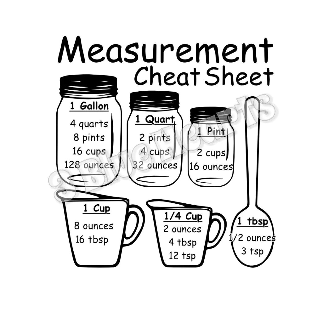 Measurement Cheat Sheet Svg Studio Dxf Cutting Board