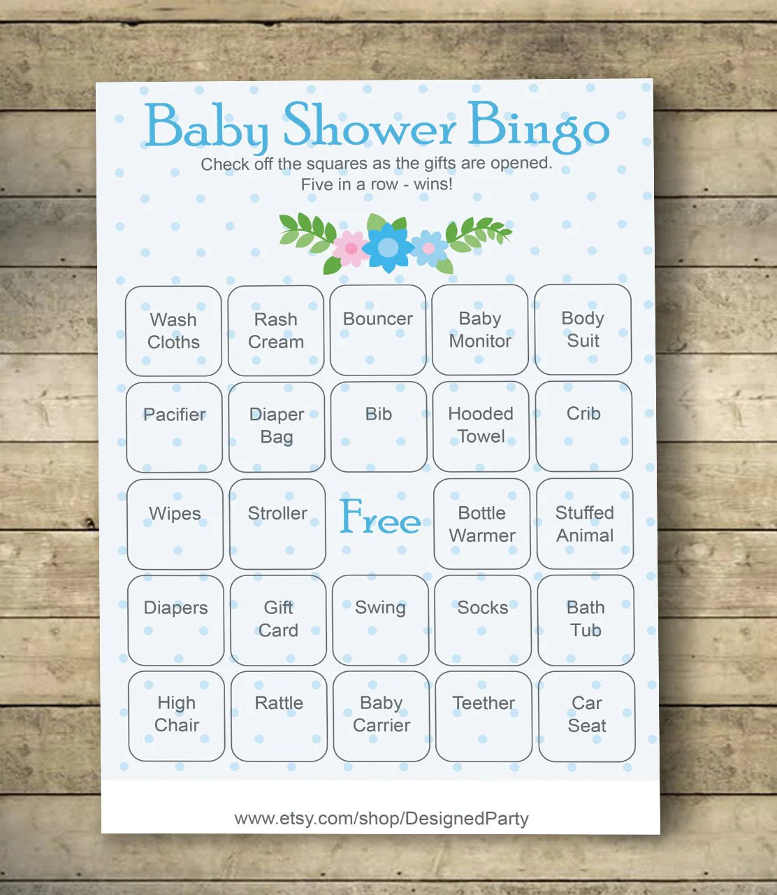 Polka Baby Shower Bingo Cards Baby Shower Bingo Game 40