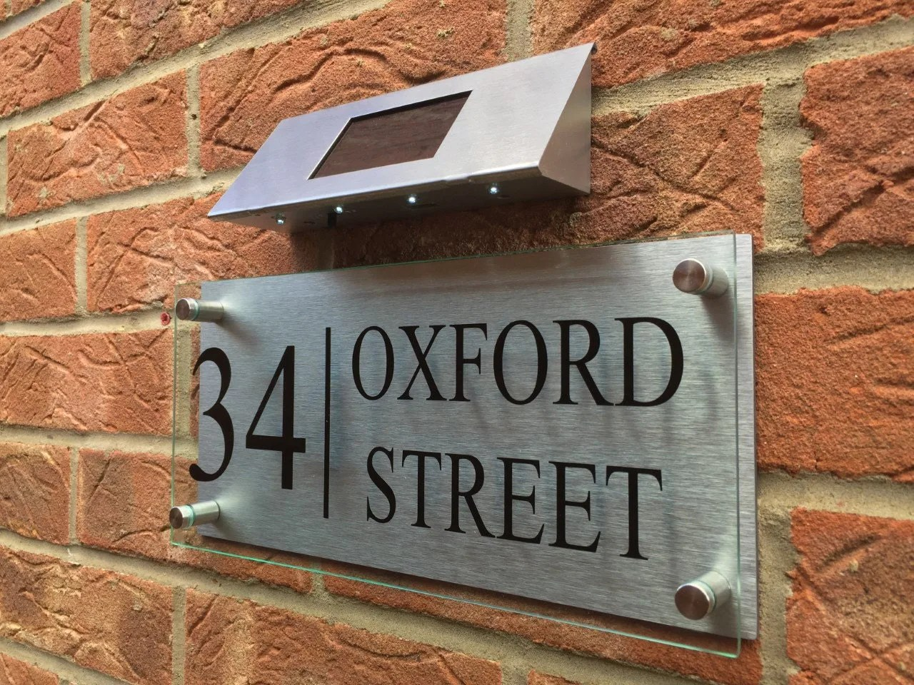 Modern House Sign glass acrylic aluminium plaque door number street with led solar light from