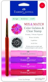Faber-Castell Design Memory Craft Gelatos Color & Clear Stamp Set, scrapbooking card making Bible Journaling, RED