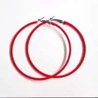 Red Hoop Earrings Large Hoops Oversized Earrings Woven Red