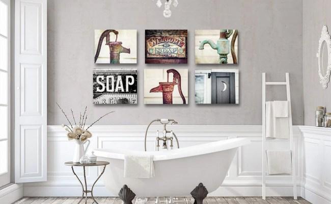 Artwork For Rustic Bathroom Wall Decor Farmhouse Bathroom