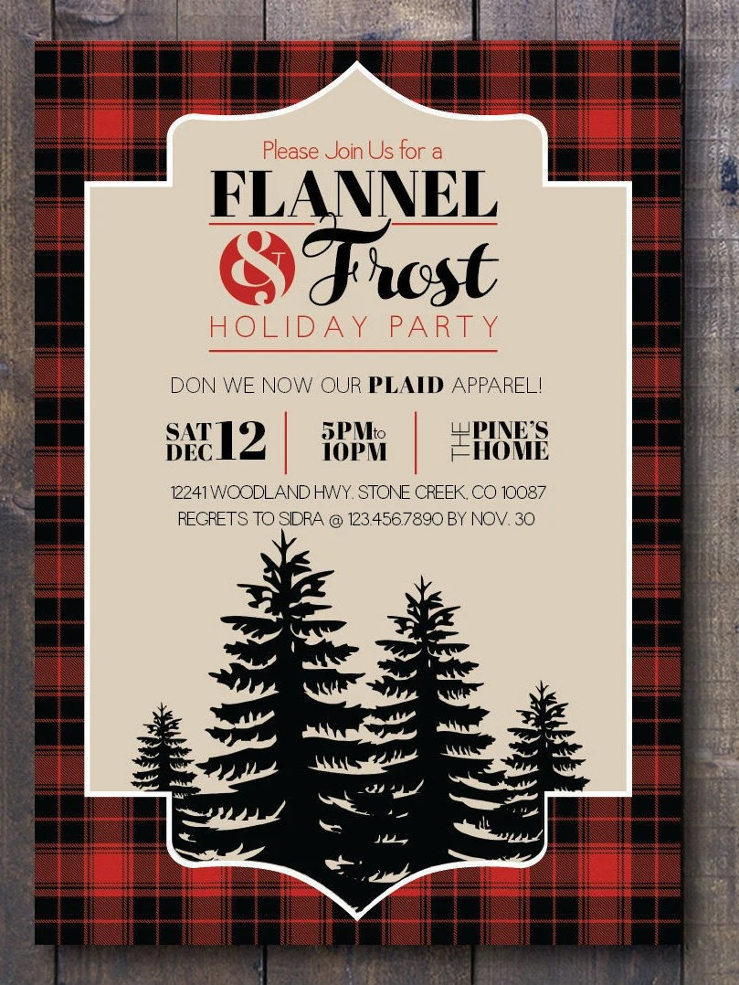 Flannel  Frost Holiday Party Printable Invitation Buffalo