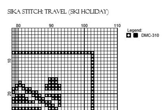 Travel Skiing Cross Stitch Pattern Holiday Winter Symbols