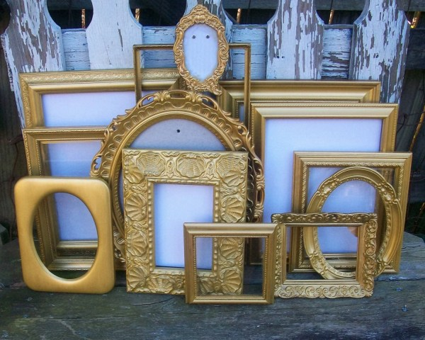 Set Of 13 Shabby Chic Gold Frames Wall