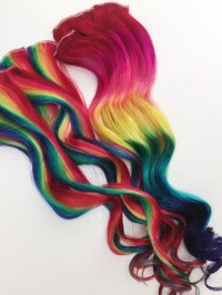 Rainbow Human Hair Extensions. Colored Hair Extension Clip