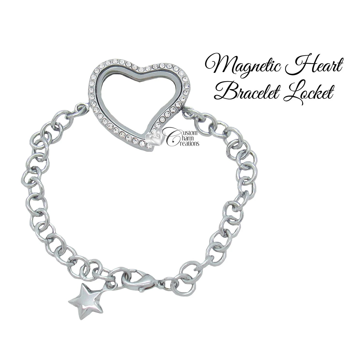 Floating Locket Bracelet Heart Crystal Rhinestones