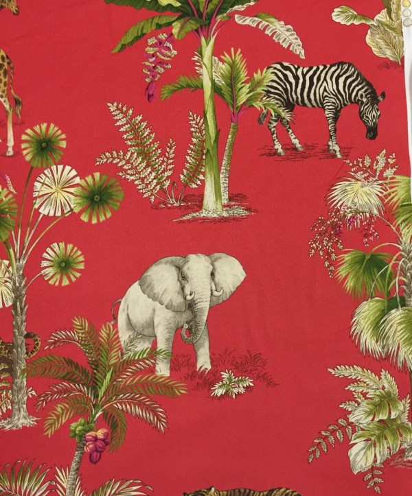 Congo Red Zebra Elephant and Cheetah Palm Trees