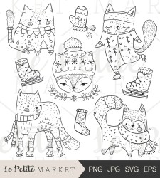 cute clipart cats clip cat winter holiday etsy coloring illustrations pages hand drawn halloween painting cactus girly illustration visit listing
