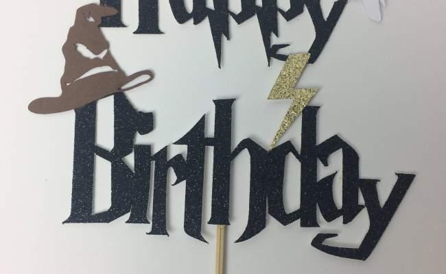 Harry Potter Happy Birthday Cake Topper Lightning Bolt