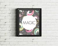 Magic Art Print Unicorn Wall Art One Word by InkyBitsPrints