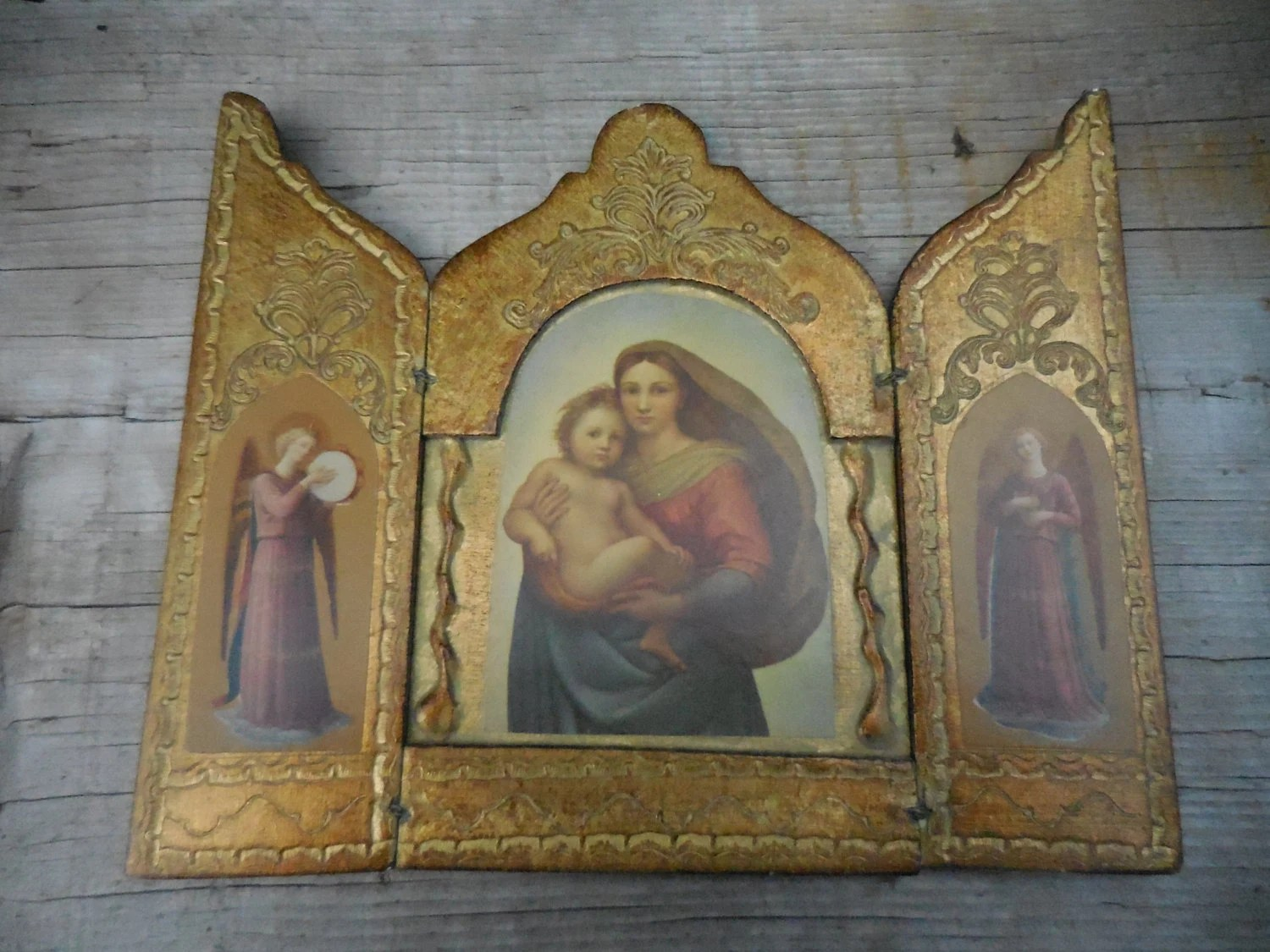 madonna of the chair louis side vintage florentine triptych by raphael