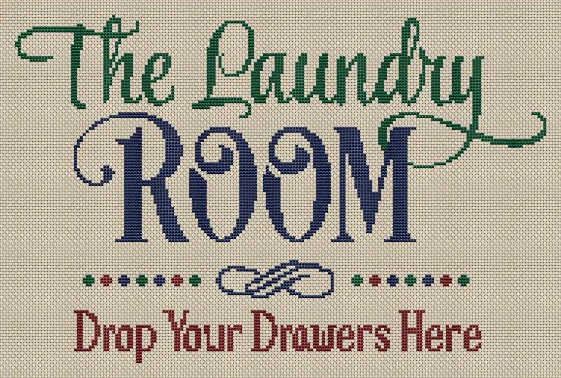 The Laundry Room Drop Your Drawers Cross Stitch Pattern Modern