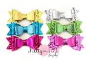 leather glitter multi layered bow