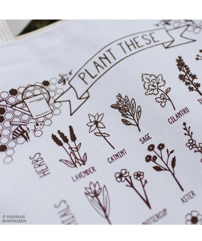 Plant These to Help Save Bees Eco-Friendly Tote Bag / save the